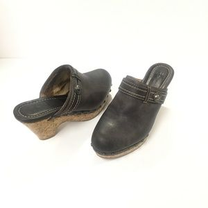 Frye Audra Brown Leather Clog Size 7.5
